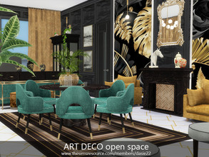 Sims 4 — ART DECO open space by dasie22 — This room is a stylish open space. The interior contains a hallway, a dining