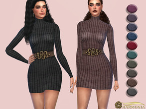 Sims 4 — Ribbed Knit Turtleneck Sweater Dress by Harmonia — Mesh by Harmonia 12 color Please do not use my textures.