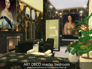 Sims 4 — ART DECO master bedroom by dasie22 — This room is an elegant master bedroom with a bathroom. The room was built