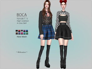 Sims 4 — BOCA - Mini Skirt by Helsoseira — Style : High Waisted A Line Gothic Mini Skirt Name : BOCA Sub part Type :