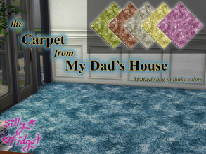Sims 4 — the Carpet from My Dad's House by sillyfidget — Mottled late-80s shag carpet in funky colors.