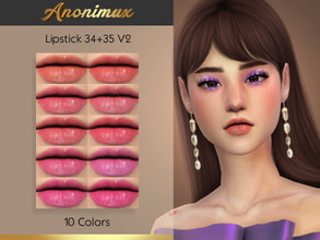 Sims 4 — Anonimux - Lipstick 34+35 V2 by Anonimux_Simmer — - 10 Colors - Compatible with the color slider - BGC - Thanks