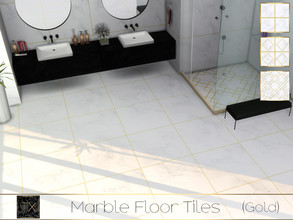 Sims 4 — TX - Marble Floor Tiles (Gold) by theeaax — Marble Floor Tiles has 3 different swatches colors: black and wihite