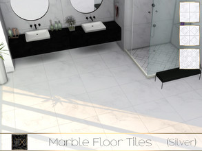 Sims 4 — TX - Marble Floor Tiles (Silver) by theeaax — Marble Floor Tiles has 3 different swatches colors: black and