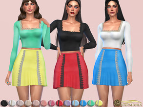 Sims 4 — Lace Trim Square Neck Top by Harmonia — 13 different color Please do not use my textures. Please do not