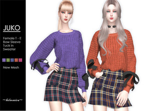 Sims 4 — JUKO - Bow Sweater by Helsoseira — Style : Long sleeve with bows tuck in sweater Name : JUKO Sub part Type :