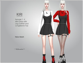 Sims 4 — KIRI - Goth Mini Dress by Helsoseira — Style : Goth overall with leg gather and long sleeve top - mini dress