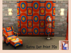 Sims 3 — ws Retro Orange Dots 70s by watersim44 — Selfmade orange retro pattern for your Sims. Category Geometric