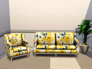 Sims 3 — Yellow Roses by Canterville032 — This Pattern is good kitchens, dining rooms and bright lounge rooms.