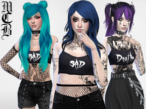 Sims 4 — Bad, Sad and Death Crop Tops by MaruChanBe2 — Are you bad, sad or maybe dead? Or just like some edgy words? You
