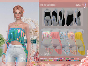 Sims 4 — DSF TOP AURASPRING by DanSimsFantasy — Sleeveless shirt with asymmetric structure, its soft texture exhibits