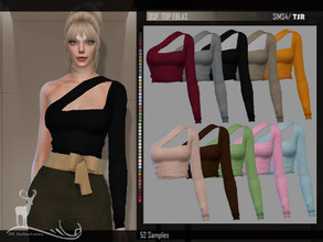 Sims 4 — DSF TOP EBLAS by DanSimsFantasy — Shirt with asymmetric structure in soft cotton material, has 52 samples.