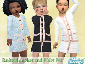 Sims 4 — Knitted Jacket and Skirt by Pelineldis — A sweet knitted jacket and skirt set for toddler girls in three color
