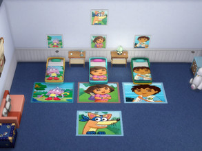 Sims 4 — Set Dora the explorer by julimo2 — Dora The Explorer set includes - Three toddler beds - Four Rugs - Four