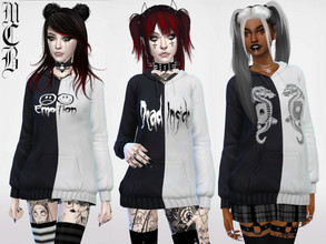 Sims 4 — Graphic Half Black Half White Hoodie by MaruChanBe2 — Half black and half white hoodies with graphics. 3