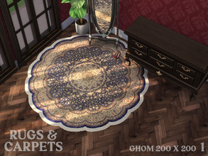 Sims 4 — Rug Ghom 200 x 200 cm No. 1 by RugsAndCarpets — A round rug with a pile made of pure silk from the Iranian town