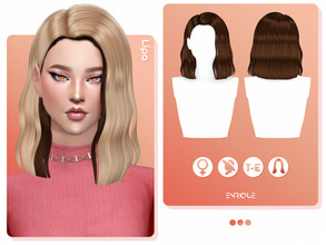 Sims 4 — EnriqueS4 - Lipa Hairstyle by Enriques4 — New Mesh 18 Swatches All Lods Base Game Compatible Teen to Elder Hat
