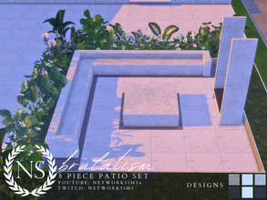 Sims 4 — Brutalism Patio - Networksims by networksims — A 8-piece patio set inspired by brutalist architecture.