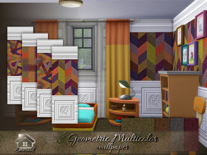Sims 4 — Geometric Multicolor Wallpaper by Emerald —  Brighten up any room with multicolor wallpapers with unique