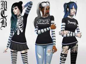 Sims 4 — Graphic Shirt with Stripe Sleeves by MaruChanBe2 — Three different shirts with stripe sleeves. You don't need a