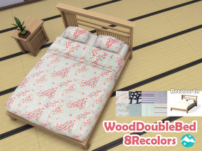 Sims 4 — Wood Double Bed RecolorSet by jeisse197 — Category : Objects 8 Recolors In Please do not modify / palette, thx