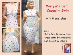 Sims 4 — ws Marylins Dress and Swim - RC by watersim44 — Created and inspired for Marylin Monroe - Vintage-Style recolor.