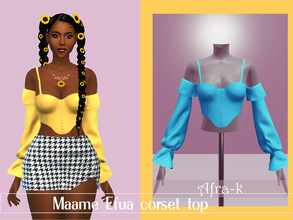 Sims 4 — Maame Efua corset top by akaysims — - New mesh - 10 swatches - HQ compatible - Custom thumbnail - All LODs You