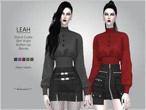 Sims 4 — LEAH - Stand Collar Blouse by Helsoseira — Style : Gothic slim waist stand collar blouse Name : LEAH Sub part