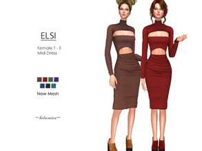 Sims 4 — ELSI - Midi Dress by Helsoseira — Style : Midi strapless dress with shrug high neck and cut out detail Name :