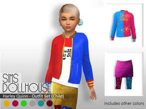 Sims 4 — Sims Dollhouse - Harley Quinn (Child) by SimsDollhouse — - Hand painted textures - 7 Colours available - Base