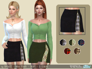 Sims 4 — Zip Skirt by Birba32 — A short skirt with a vent and underskirt in tartan fabric. New mesh, 5 colors.