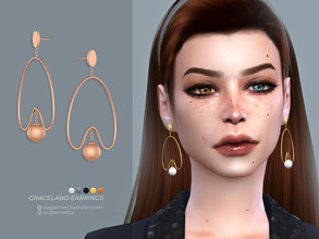Sims 4 — Graceland earrings by sugar_owl — - new mesh - base game compatible - all LODs - 10 swatches - HQ compatible -