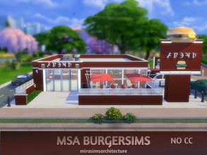 Sims 4 — MSA BurgerSims NO CC by mirasimsarchitecture — NO CC Lot type: Restaurant Lot size: 30x30 Lot value: $102.628