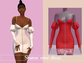 Sims 4 — Sharon mini dress by akaysims — Long sleeve mini dress with puff sleeves - 10 swatches Enjoy!