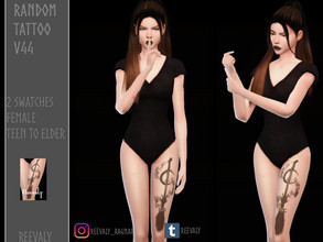 Sims 4 — Random Tattoo V44 by Reevaly — 2 Swatches. Teen to Elder. For Female. Works with all Skins and Overlays. Base