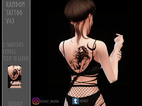 Sims 4 — Random Tattoo V43 by Reevaly — 2 Swatches. Teen to Elder. For Female. Works with all Skins and Overlays. Base