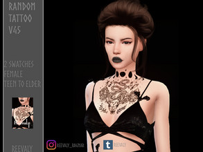 Sims 4 — Random Tattoo V45 by Reevaly — 2 Swatches. Teen to Elder. For Female. Works with all Skins and Overlays. Base