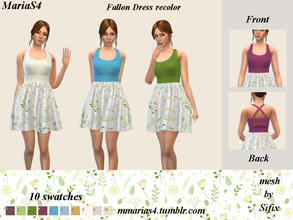 Sims 4 — MariaS4 Fallon Dress elegant spring recolor (needs mesh) by MMariaS4 — An elegant spring themed recolor of the
