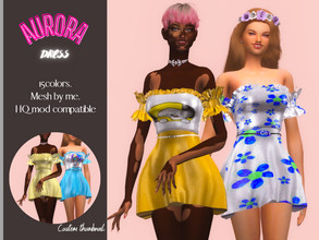 Sims 4 — Couquetts  Aurora Dress by couquett — I hope that you like it - 15 colors. - Mesh by me. - Custom thumbnail. -