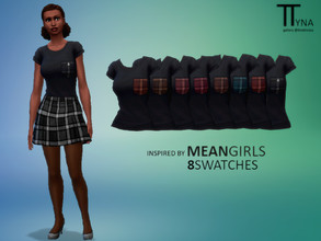 Sims 4 — Mean Girls Inspired Plaid Pocket Top (ttratincica) by ttratincica — Plaid pocket top inspired by Mean Girls