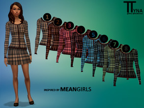 Sims 4 — Mean Girls Inspired Lighter Plaid Cardigan (ttratincica) by ttratincica — Plaid cardigan inspired by Mean Girls