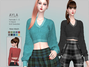Sims 4 — AYLA - Knit Sweater by Helsoseira — Style : V neck, long sleeve bow back sweater Name : AYLA Sub part Type :
