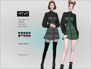 Sims 4 — MEVE - Belted Dress by Helsoseira — Style : Belted, zip front, long sleeve mini dress Name : MEVE Sub part Type