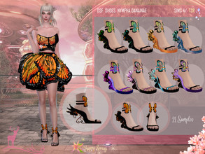 Sims 4 — DSF SHOES NYMPHA DANAINAE by DanSimsFantasy — These sandals correspond to the Nynpha Danainae outfit, its