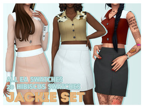 Sims 4 — Solistair Jackie SET by Solistair — Female tops & bottoms EA Colours & Hibiscus Palette Base Game
