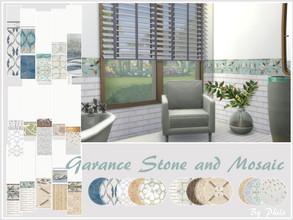 Sims 4 — Garance Stone and Mosaic Set by philo — A collection of various matching walls and floors. I hope you like it.