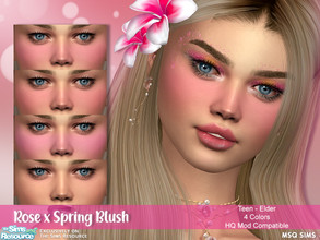 Sims 4 — Rose x Spring Blush by MSQSIMS — - Base Game - Teen-Elder - Female - 4 Swatches - HQ Mod Compatible - Custom