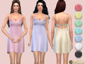 Sims 4 — Open-back Silhouette Dress with Bra-like Top by Harmonia — Mesh by Harmonia 7 color Please do not use my