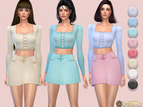 Sims 4 — Decorated Cutouts Satin Mini Skirt by Harmonia — Mesh by Harmonia 7 color Please do not use my textures. Please