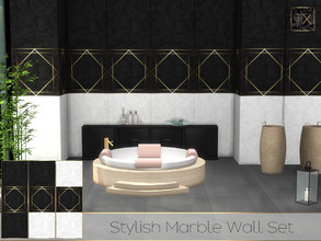 Sims 4 — TX - Stylish Marble Wall Set (Gold and Silver) by theeaax — Stylish Marble Wall Gold and Silver 6 Different
